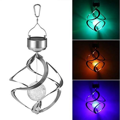 Xinfang Solar Hängelampe, Wind funkelnde Kristallkugel-Lampe Farbwechsel LED-Lampe Ornament für Rasen Gärten Yard, 7 Farben ändern Windspiel drehen