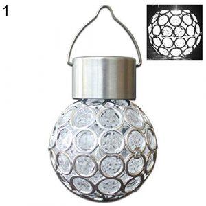 GlobalDeal Direct Solar-Hängelampe mit Kugel-LED-Beleuchtung für den Außenbereich, Farbwechsel, dekorativ, romantisch weiß