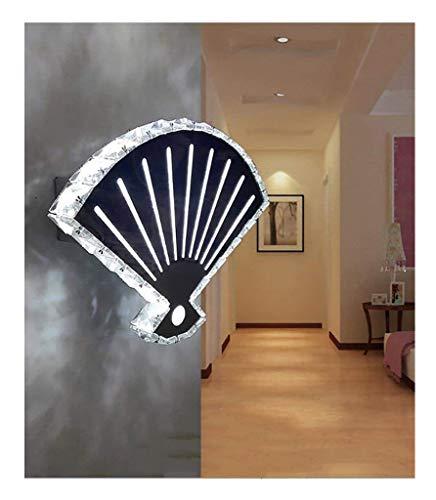 Light 33 LED Kristall Fan Wandleuchte einfache Treppe Gang Wand Wohnzimmer Schlafzimmer Nachttischlampe Mehrzweckleuchte (Farbe : Warmes Licht)