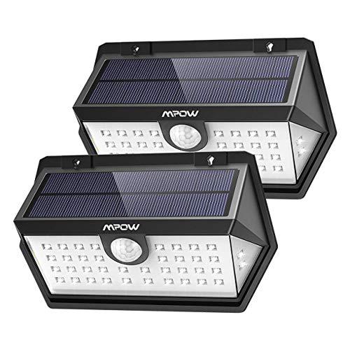 Mpow 120 ° Weitwinkel Solarleuchte, 40 LED Bewegungssensor Solarlicht, IP65 Wasserdicht, Solarbetriebene Sicherheitswandleuchte, 3 Modi, Sonnenkollektor, Superhell für Garten, Garage, Pfad