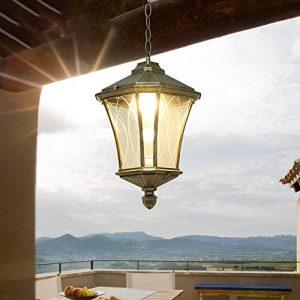Traditionelle Außen-Decken-Pendelleuchten 1 × E27 Vintage Outdoor Aluminium Antik Aluminium-Finish Flur Wintergarten Balkon Veranda Kronleuchter