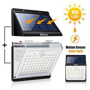 Elfeland Solarleuchte für Außen Solarlampe mit Bewegungssensor Sound-&Lichtsensor Solar Wandleuchte mit 4 Modi Solarlicht 88LEDs IP65 Sicherheitswandleuchte für Garten Wände Deck Hof Veranda Flur