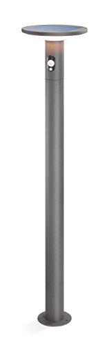 Moderne Solar Sensor Wegeleuchte Imperia Lichtfarbe warmweiß 3000K, 2,8 Watt Solarmodul, 210 lm Lichtstrom, Sommer- und Wintermodus, hochwertige Aluminiumausführung, Standleuchte Garten 102902