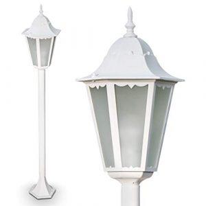 Außenleuchte Hongkong Frost, Kandelaber in antikem Look, Aluguß in Weiß mit Milchglas-Scheiben, Wegeleuchte 120 cm, Retro/Vintage Gartenlampe, E27-Fassung, max. 100 Watt, IP44