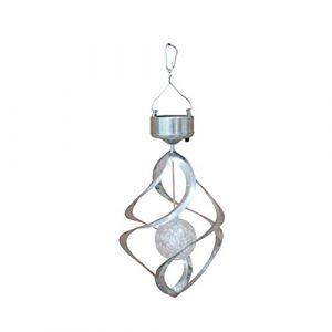 LEDMOMO Solar Wind Chimes Licht, Rotierenden Bunten Farbwechsel im Freien Wasserdichte Lampe LED Windspiel, Garten Rasen Balkon Veranda Fenster dekoratives Licht (Silber)
