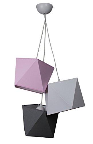 Hängelampe schöne Hängeleuchte Diamant L3 Metall viele Farben (Lampenschirm: Rosa-Grau-Schwarz)