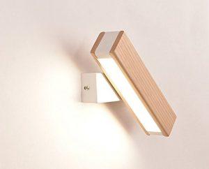 Aensa das Schlafzimmer Wand Lampe Nachttischlampe Holz Gang Einfache und moderne Ideen können in Licht gedreht werden, Leselampe, rohes Holz Farbe