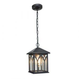 Hdmy Haushalt Outdoor Led Wasserdichte Pendelleuchte Kreative Garten Pavilion Garten Hängende Laterne Europäischen Retro Regensichere Amerikanische Lampen (Color : Black)