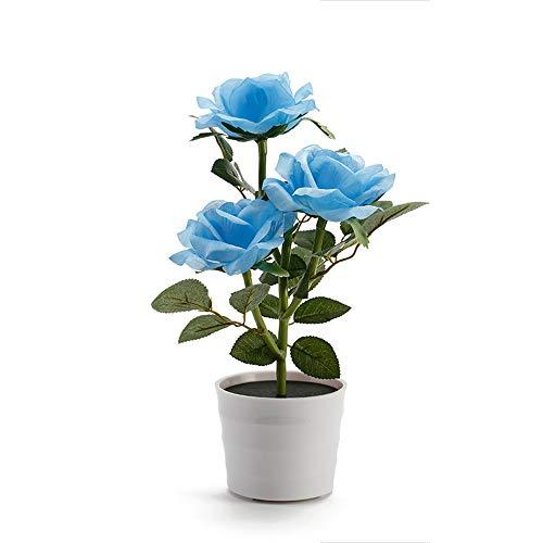 Likecrazy Deko LED Solar Rose Blume Lichter LED Künstliche Rose Topf Blume Bonsai LED Lampe beleuchtet Batterie Blumentopf Kunstpflanze Blume Kunstblume Tischlampe (Blau,one size)