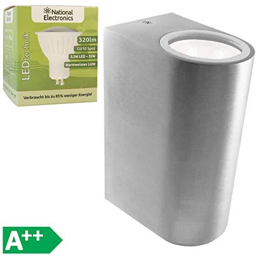 National Electronics 3.5W Downlight Uplight LED Außenleuchte Wandleuchte Wandlampe Aluminium New York 2-fach IP54 inkl. Leuchtmittel, warm-weiß, für Innen und Außen