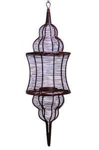 MAADES Orientalische Laterne aus Metall Sintra 60cm Rost Farbe | Orientalisches Marokkanisches Windlicht hängend | Marokkanische Gartenlaterne für draußen, oder Innen als Hängelaterne (Rostoptik)