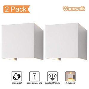 2-Pack 7W LED Wandleuchte Aussen Wandlampe Wasserdicht Mit Einstellbar Abstrahlwinkel IP65 LED Wandbeleuchtung Innen & Außen Warmweiß -Weiß