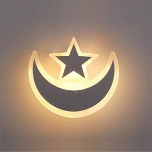 JIANREN Acryl-Wandleuchte LED Wandlampe Nachttischlampe dekorativer Innenraum Wohnzimmer Schlafzimmer kreative Wandleuchten Mond und die Sterne