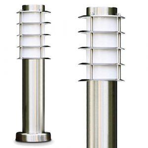 Sockelleuchte Tunes – Pollerleuchte aus Edelstahl – 45cm hoch – ebenerdige Stehlampe – schmale Wegeleuchte für den Garten, das Beet oder den Eingangsbereich – Stehlampe außen – 1xE27-Fassung – 40W