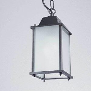 Klassische Außenhängeleuchte in anthrazit/Aluminium, Glas E27 max. 60 Watt Terrassenleuchte Pendelleuchte Pendellampe Hängelampe