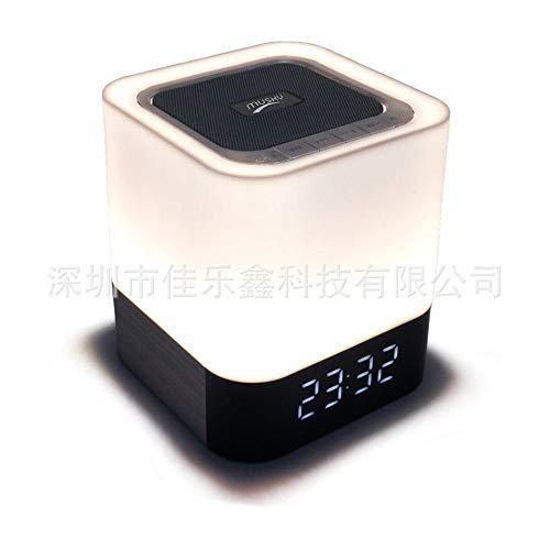 Qpw Drahtlose Bluetooth-Lautsprecher Touch LED Schreibtisch-Lampe Karte Audio Nachttischlampe mit Zeit Wecker 100 * 100 * 112 mm