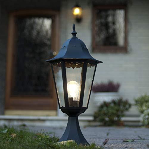 Große Sockellampe Außen Schwarz E27 H:49cm IP44 BRISTOL II rustikal Wegbeleuchtung Garten Einfahrt