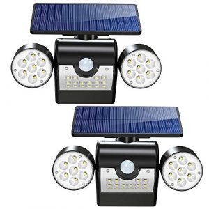 Solarleuchte 30 LED Superhelle Solarlampe Außen mit Bewegung, IP65 Wasserdicht Wandleuchte 360° Drehbar Dual Lichtkopf und Solar Panel Sicherheitslicht für Garten Balkon Auffahrt Garage (2 Stücke)
