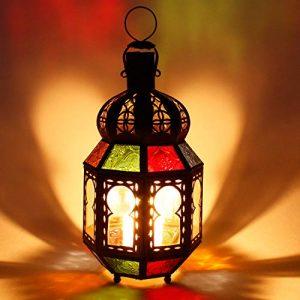 Orientalisches Windlicht marokkanische bunte Metall Laterne Tamani H 28 Ø 12 cm | hängend o. stehend für Balkon Garten Terrasse schöne Dekoration | Kunsthandwerk aus Marrakesch | L13002