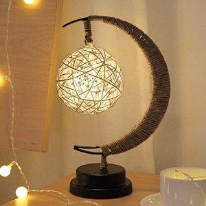 Nachtlicht Schreibtischlampe Stern Mond Hanfseil Dekoration Handcraft nette Lampe(Sepak TakrawWarmes Licht 3)