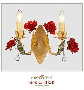 Amerikanischen pastoralen blume wandleuchte hotel led nachttischlampe romantische geschnitzte rose moderne hause einfache wandleuchte, stil B doppel lampe (32 cm * 33 cm)