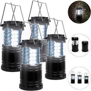 4x LED Campinglampe Camping Laterne | wasserdicht | je 30 LEDs | batteriebetrieben | aufhängbar | Lampe Nachtlichter Außenleuchte
