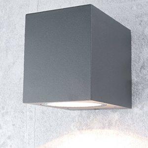 Kompakte Wandleuchte außen/eckig/anthrazit / 1x GU10 bis 35 Watt / IP44 / Außenstrahler Wand-Lampe down für Hauswand Garten Hof