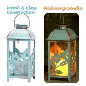 SteadyDoggie Blaue Solar Laterne aus Metall im Kolibri-Stil | Wetterfeste | Sommerliche Tisch- oder Hängelampe für Außen- und Innenbereich | Design mit Glasfenstern und Leuchtender Kerze