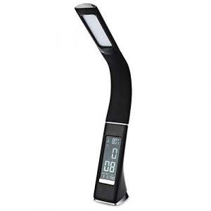 DJBNQ Business LED Schreibtischlampe Leder Textur Touch Schalter Dimmbare USB Tischlampe Beleuchtung Uhr LCD-Display für Büro/Lesesaal, Schwarz, EU-Stecker