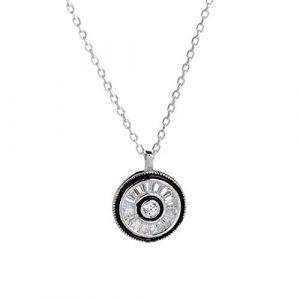 GFLD Anhänger Halskette S925 Silber Halskette weibliche runde Pendelleuchte geometrischen Luxus Schlüsselbein chai