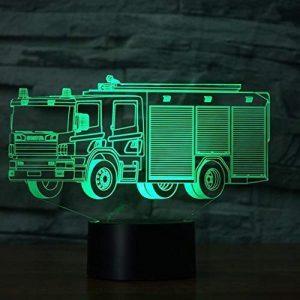 ZLHLL Home Neuheit 3D Led 7 Farbe Schreibtischlampe Kreative Visuelle Feuerwehrauto Leuchte USB Feuerwehrauto Auto Schlaf Nachtlicht Kind Geschenk