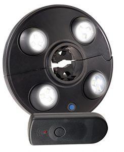 Luminea Sonnenschirmleuchte: LED-Schirmleuchte mit 4 dreh- & dimmbaren Spots, 200 lm, Fernbedienung (Sonnenschirm Lampe)