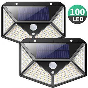 Solarlampen für Außen,【270 ° Vierseitige Beleuchtung- 3 Modi】iPosible 100 LED Solarleuchte mit Bewegungsmelder Solar Wasserdichte Wandleuchte Solar Aussenleuchte Solarlicht für Garten, Hof-【2 Stück】