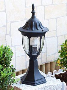Edle Standleuchte in schwarz inkl. 1x 12W E27 LED 230V Stehleuchte aus Aluminium & Glas Stehlampe für Garten/Terrasse Garten Weg Terrasse Lampen Leuchte außen Beleuchtung