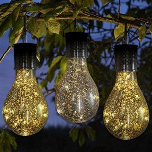 Upxiang Solar Glühbirne mit hängendem Haken, Solar drehbare Garten LED Licht Lampe Birne, wasserdicht Outdoor Garten Camping Hängelampe Birne, Weihnachten Garten-im Freiendekor (Silber)