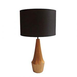 GAOQING Konisches Design Schreibtischlampe, einfache Moderne runde Tischleuchte, Harz Licht Lampen Stoff Tischlampe, handgeschnitzte Schreibtischlampe,Black