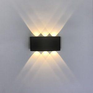 ETiME 12W LED Wandleuchte Wasserdicht Innen/Außen Wandlampe up & down IP65 LED Wandbeleuchtung Schwarz (12W Warmweiß)