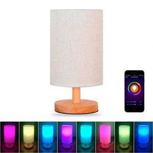 ►WTD-Fernbedienung Dimmen Farbe Smart WiFi-Schreibtischlampe mit Sprachsteuerung Smart Nachttischlampe (11×5,5 Zoll)