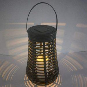 Uonlytech Solar Rattan Laterne, Wasserdichte Kerzenlaterne, Solar Hängelampe für Garten Garten (schwarz)