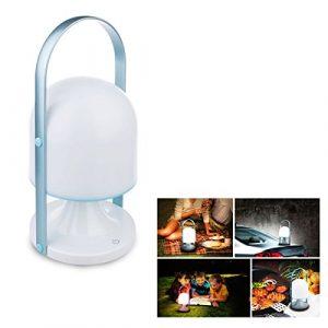 Sukyido Portable Wasserdichte LED 3 Helligkeitsstufe Nachttischlampe Nachtlicht Außenleuchten Camping Laterne für Haus, Innen und Außen Blau