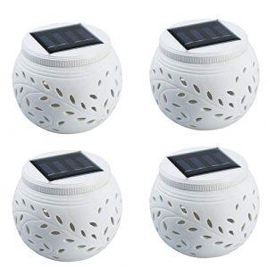 4 Stück Porcelain Solarlicht LED Farbwechsel dekoratives Licht Keramik Solar-Tischlampen Filigranarbeit Nacht Licht