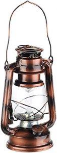 Lunartec LED Sturmlampe: LED-Sturmleuchte im Öllampen-Design, Flammen-Imitation, bronzefarben (LED Laternen)