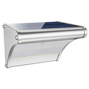 Led Solar Wandleuchte für Außen mit Bewegungsmelder, Aluminum Gehäuse, 450Lumen super hell, mit Radarsensor 360° Erfassungswinkel, IP65 Wasserdicht, 4 Modi für Garten Hof Deck