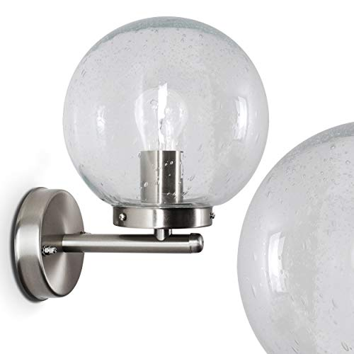 LED Außenwandleuchte Priolo aus Edelstahl, Wandlampe mit Echtglas-Kugel, 1-flammig, E27, 60 Watt, Wandleuchte für Veranda, Terrasse, Hof, IP44