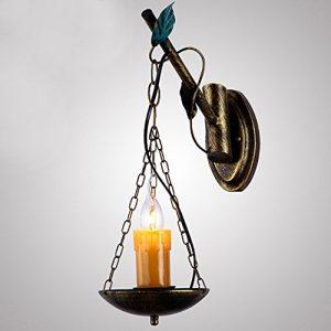 AGECC 110-230V Wandleuchte Lampe für den Innenbereich Mediterrane Eisenkerze, Wandleuchte, Wohnzimmerlampe, Barlampe, Ganglampe, Teehauslampe, positive Schreibtischlampe