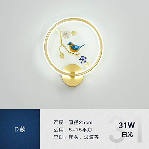 Moderne Einfache Wandlampe Led -Schlafzimmer Nachttischlampe Kreative Persönlichkeit Wohnzimmer Hintergrundbeleuchtung Korridor Treppe Wandlampe Treppe Wandleuchte,25Cm -Weiße Led [D -30W]