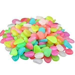 Colorful Leuchtsteine 50 St./künstliche Kieselstein/leuchtende Kiesel/Aquarium Floureszierende Pebbles Stein/Garten Gehweg (I)