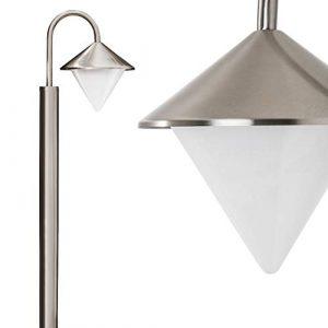 Außenleuchte Kasan, Stehlampe aus Edelstahl modernes Design in Nickel-matt, mit Lampenschirmen aus Kunststoff, Wegeleuchte 100 cm, Gartenlampe mit E27-Fassung, je max. 60 Watt, IP44