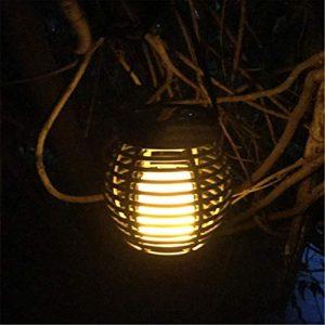 Solar Flamme Licht Rattan Käfig Licht, 51Leds Laterne, Tischlampe, Garten Hängen Licht