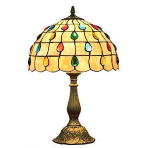 TYYW 12-Zoll Tiffany-Stil Tischlampen, Glasmalerei Nachttischlampen, European Pastoral Wohnzimmer Dekoration Nachtlicht, E26 / E27 MAX 40W